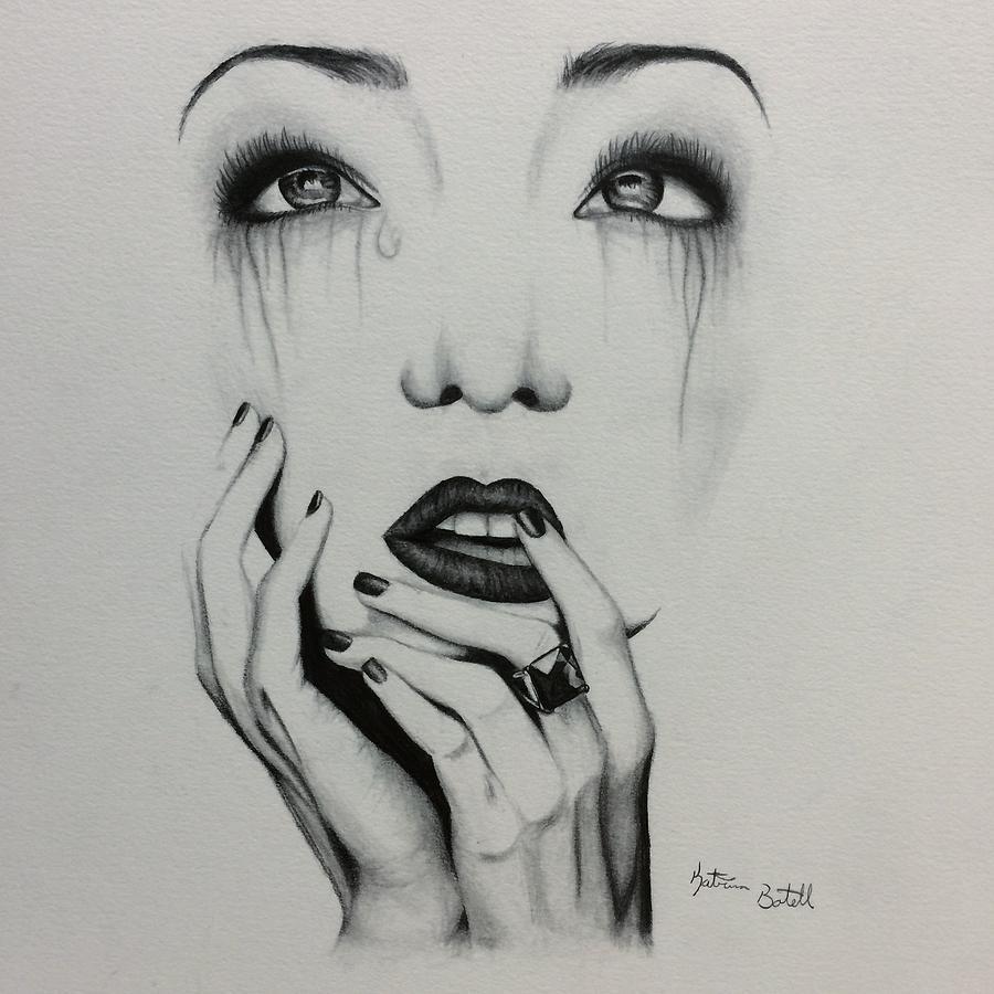 crying woman drawing by katrina botell