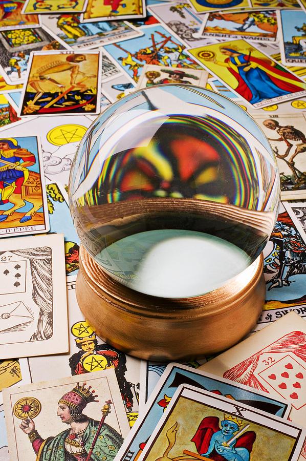 Crystal Ball Photograph - Crystal Ball And Tarot Cards by Garry Gay