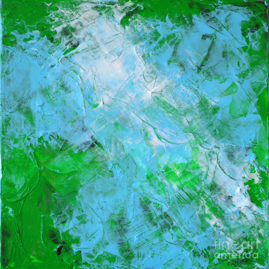 Aura Soma Painting - Crystal Cave - Green Pale Blue Abstract By Chakramoon by Belinda Capol