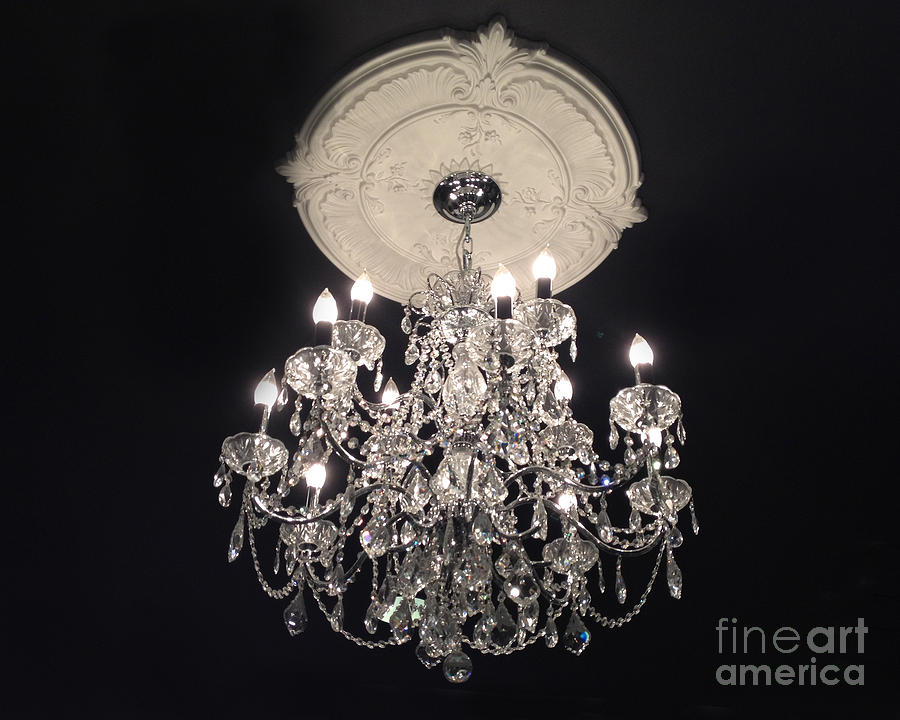 Crystal Chandelier Paris Black And White Sparkling Elegant Once Photograph By Kathy Fornal