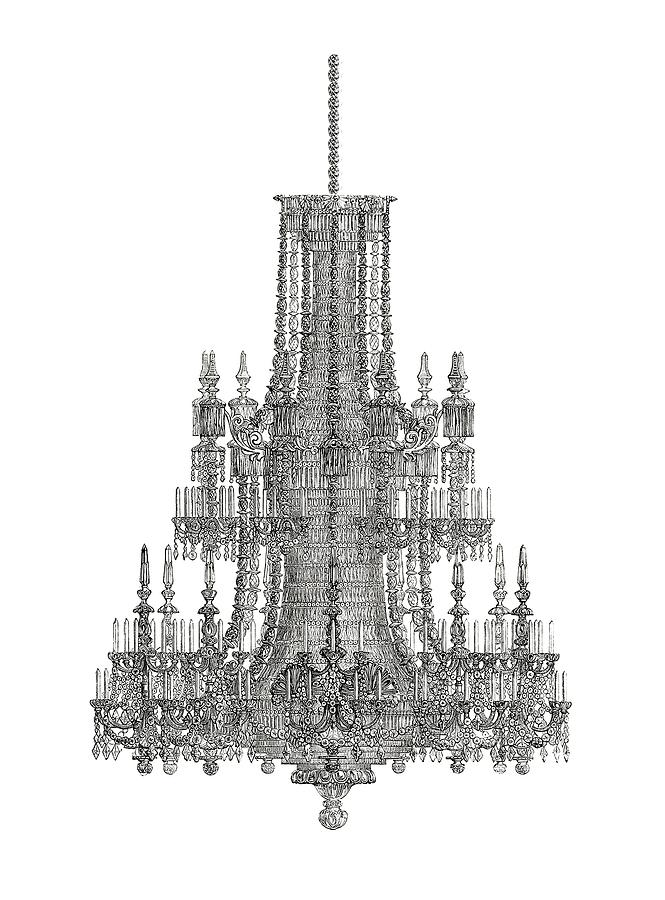 Chandelier Photograph - Crystal Palace Chandelier In Black And White by Suzanne Powers