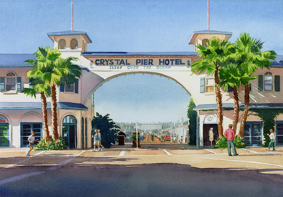 Pacific Painting - Crystal Pier Pacific Beach by Mary Helmreich