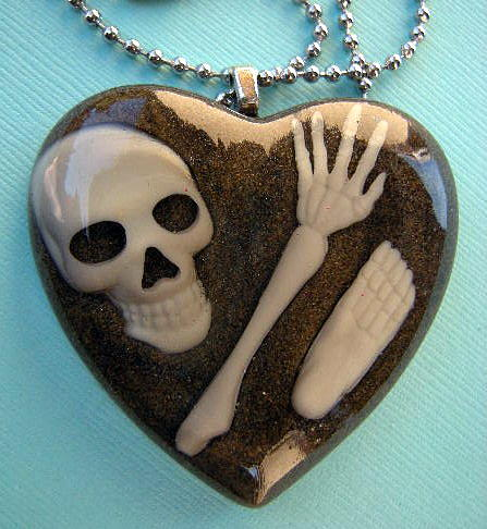 Humor Jewelry - Csi Crime Scene - Buried Alive Bones In Dirt Necklace by Razz Ace