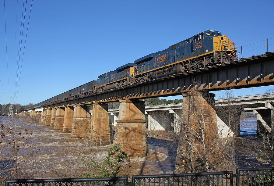 Csx Coal Train On A Bridge Photograph