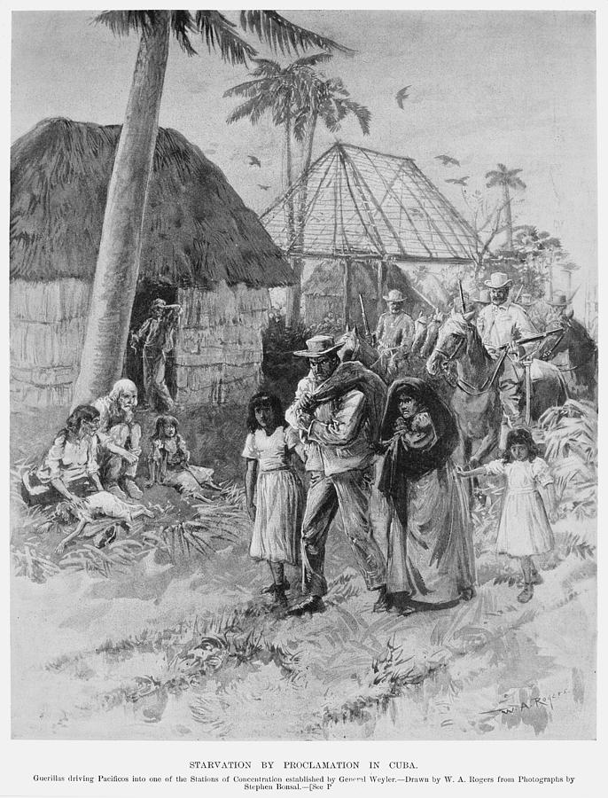 1897 Drawing - Cuba Internment Camps by Granger