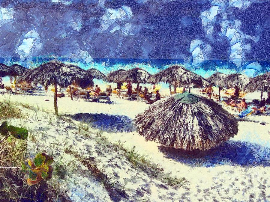 Cuba Painting - Cuban Beach by Odon Czintos