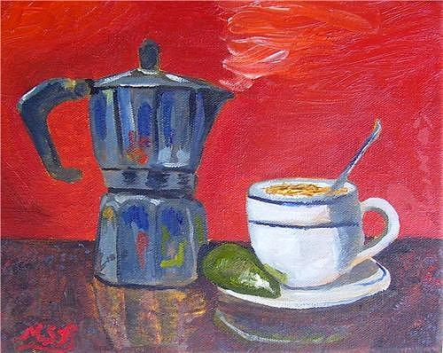 Cuban Coffee Painting - Cuban Coffee Lime Red by Maria Soto Robbins
