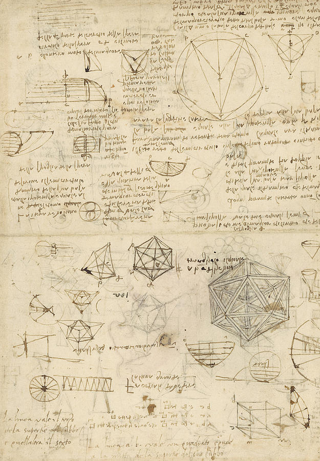 Leonardo Drawing - Cube Sphere Icosahedron Mention Of Known Project For Telescope  by Leonardo Da Vinci