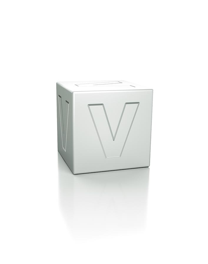 Artwork Photograph - Cube With The Letter V Embossed by David Parker/science Photo Library