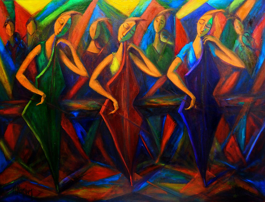 Music Painting - Cubism Music I by Marina R Burch