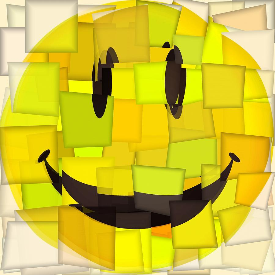 Cubism Smiley Face Mixed Media By Dan Sproul