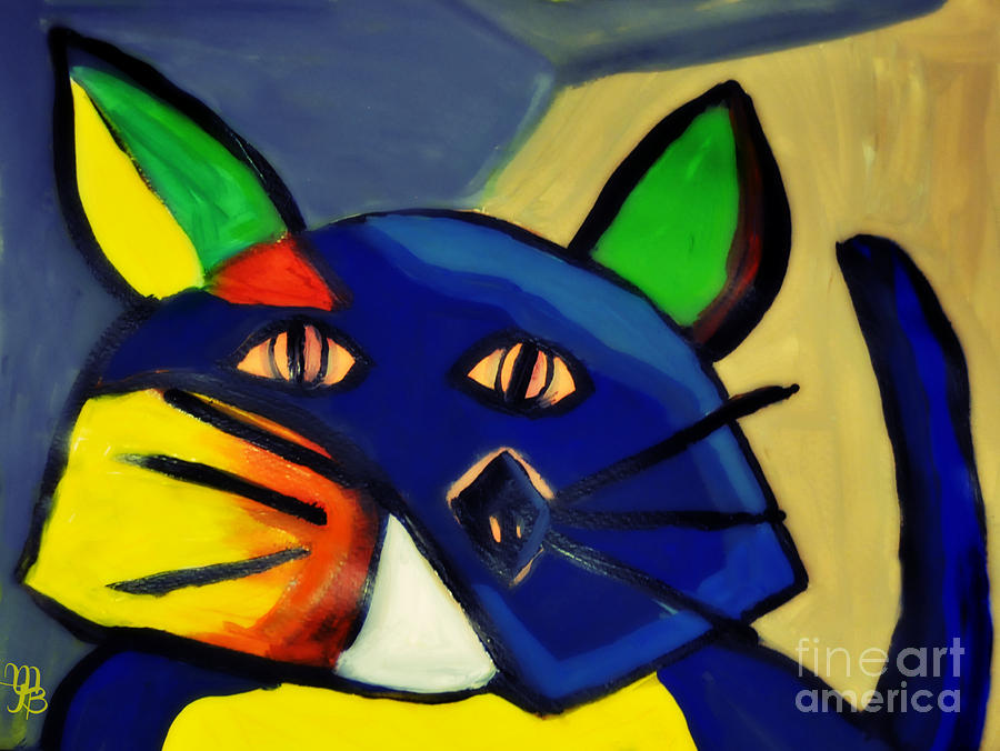 Cubism Painting - Cubist Inspired Cat  by Mindy Bench