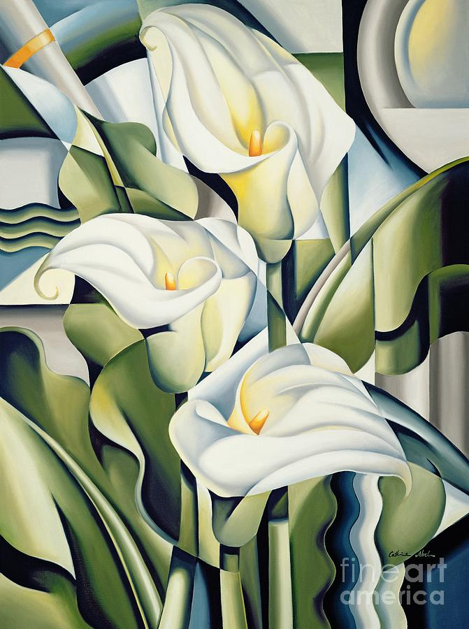Cubist Painting - Cubist lilies by Catherine Abel