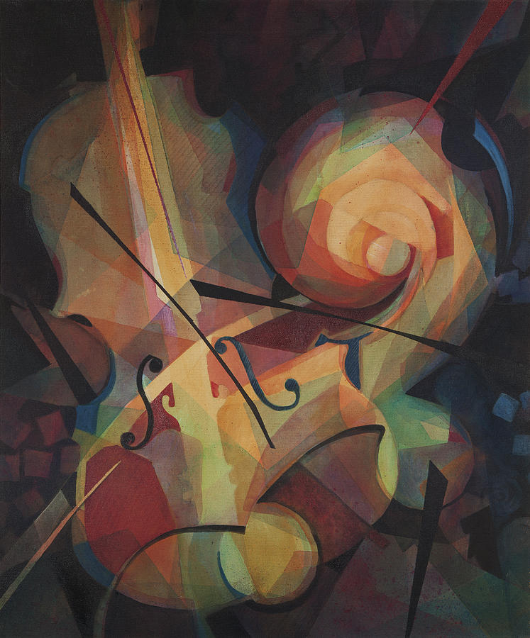 Musical Art Painting - Cubist Play - Abstract Cello by Susanne Clark