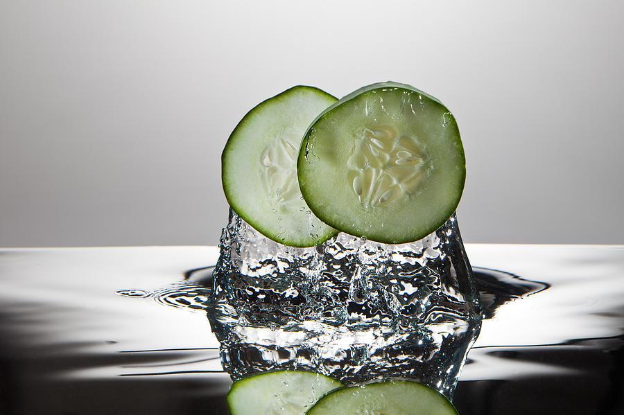 Cucumber Photograph - Cucumber Freshsplash by Steve Gadomski