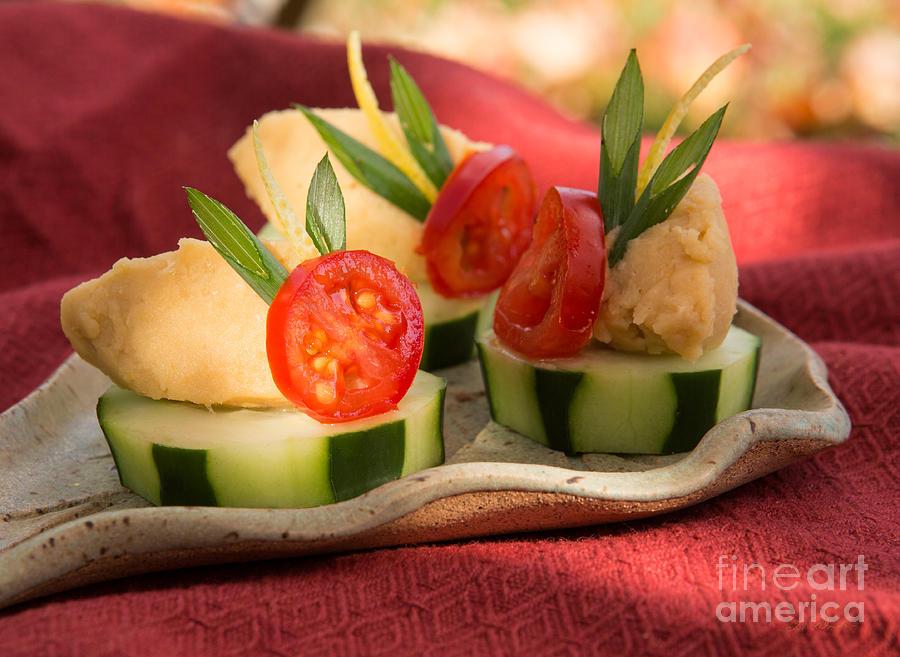 Hummus Photograph - Cucumber With Hummus by Iris Richardson