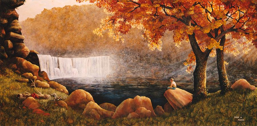 Waterfall Painting - Cumberland Falls by Duane R Probus