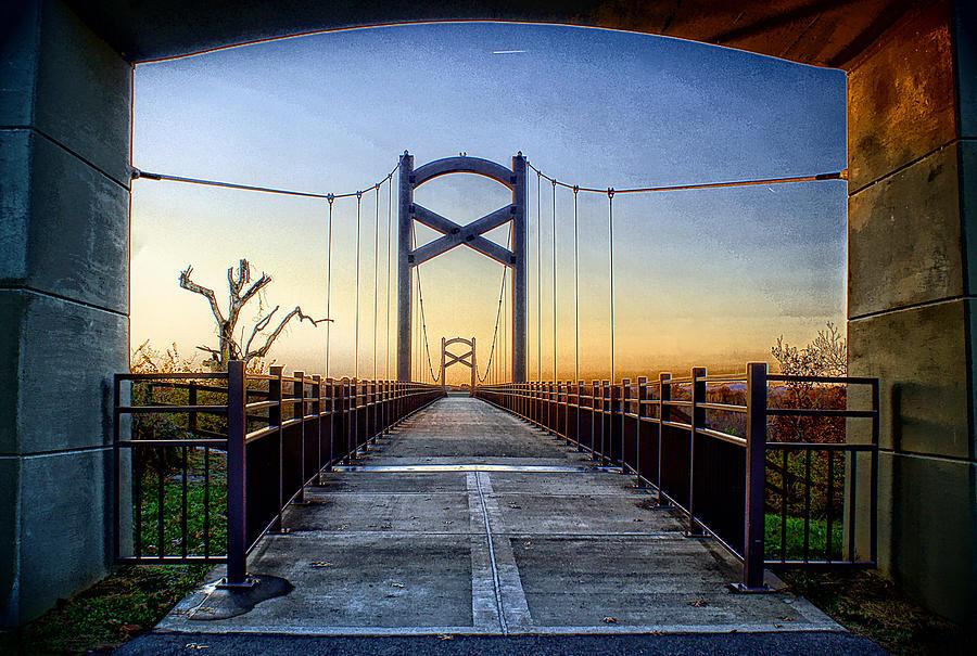 Sunset Photograph - Cumberland River Pedestrian Bridge by Patrick Collins