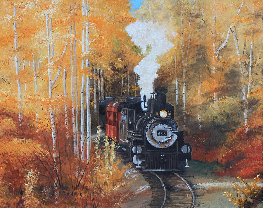 Cumbres And Toltec Railroad Steam Train Painting by Cecilia Brendel