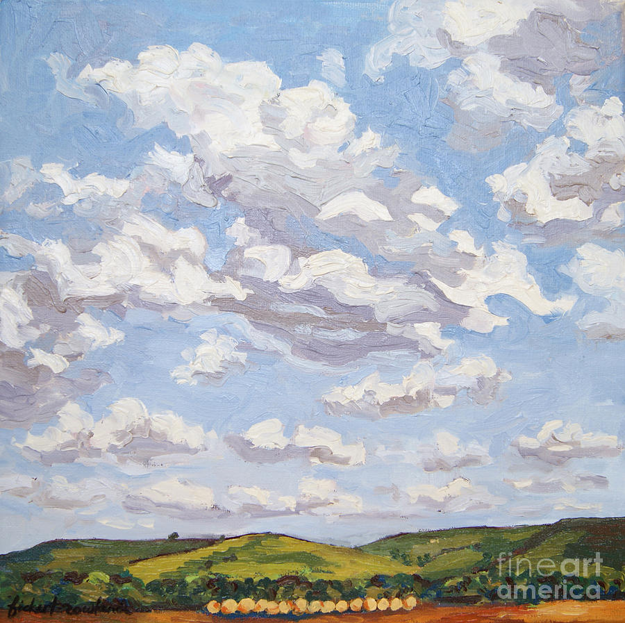 Landscape Painting - Cumulus Clouds Over Flint Hills by Erin Fickert-Rowland