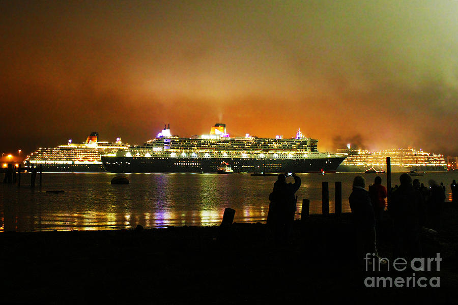 Reflection Photograph - Cunards 3 Queens by Terri Waters