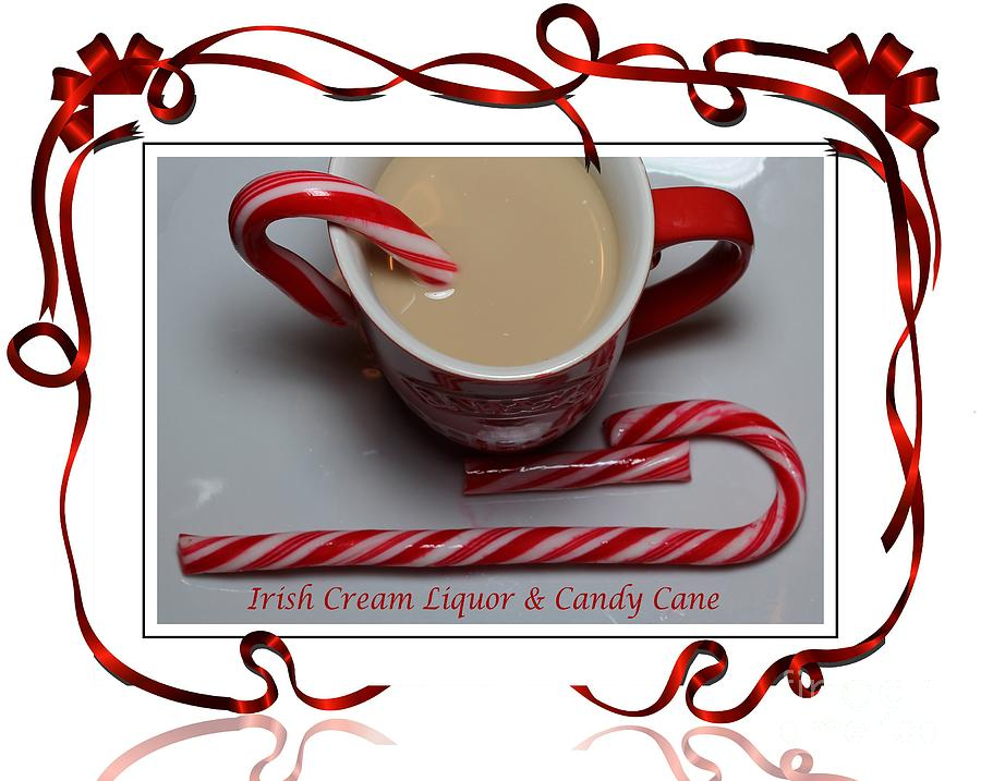 Cup Of Christmas Cheer Photograph - Cup Of Christmas Cheer - Candy Cane - Candy - Irish Cream Liquor by Barbara Griffin