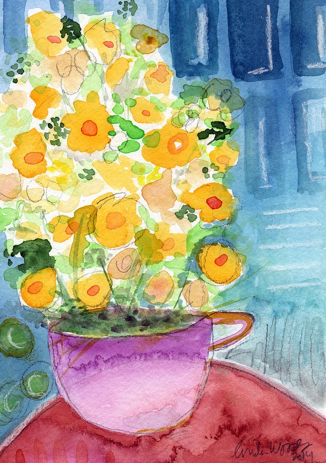 Cup Of Yellow Flowers- Abstract Floral Painting Painting