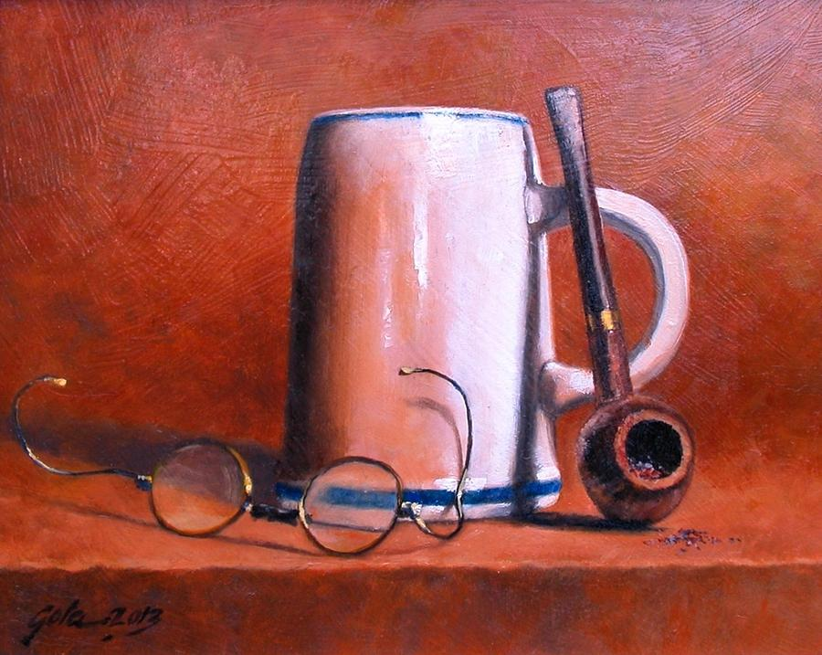 Cups Painting - Cup Pipe And Glasses by Jim Gola