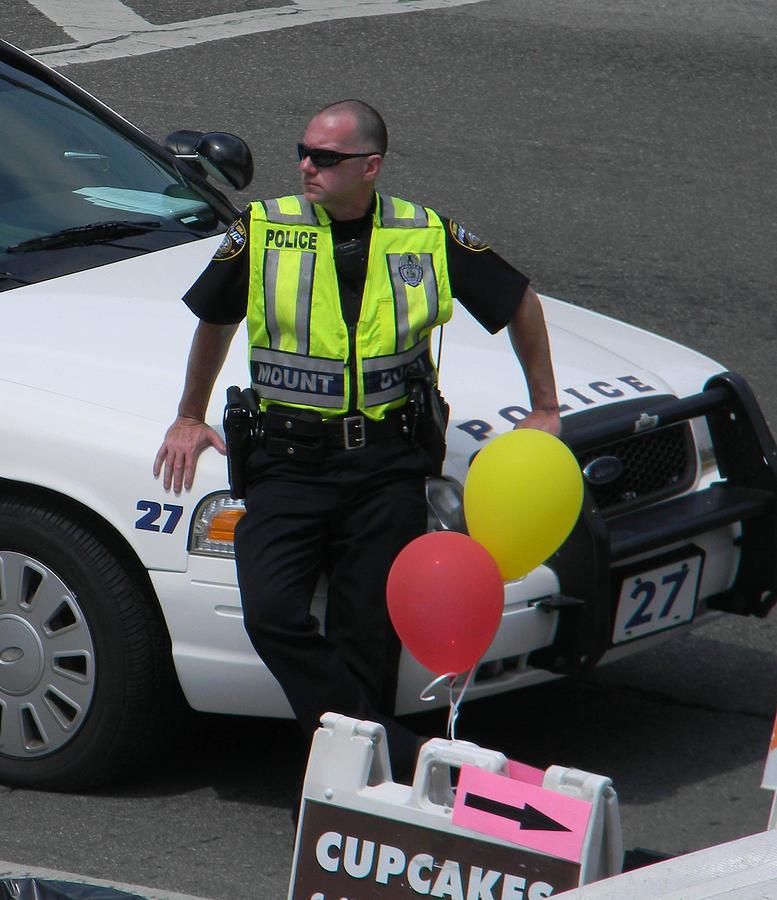 Policeman Photograph - Cupcake And Balloon Checkpoint by Christy Usilton