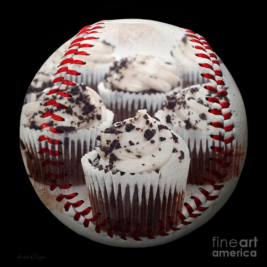 Baseball Photograph - Cupcake Cuties Baseball Square by Andee Design
