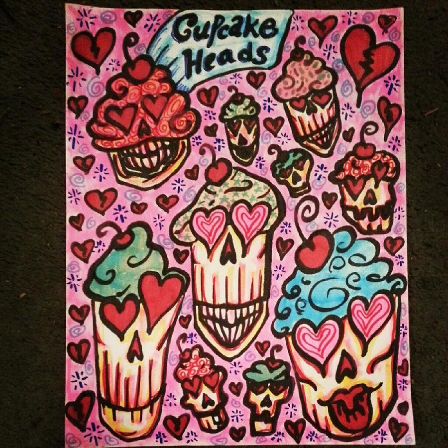 Doodle Mixed Media - Cupcake Heads by Stephanie Bucaria