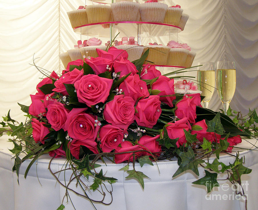 Bouquet Photograph - Cupcakes And Roses by Terri Waters