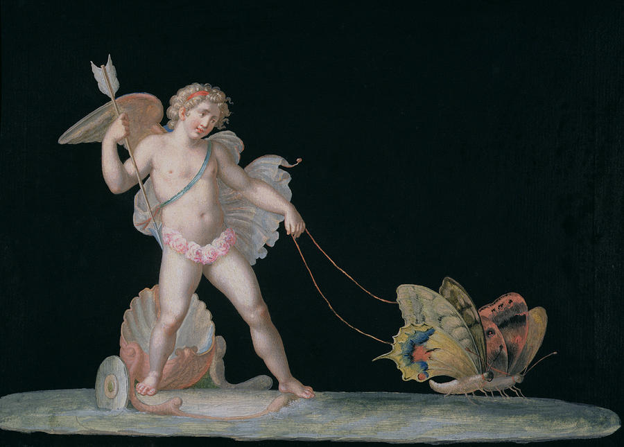 Eros Painting - Cupid Led By Butterflies by Michelangelo Maestri