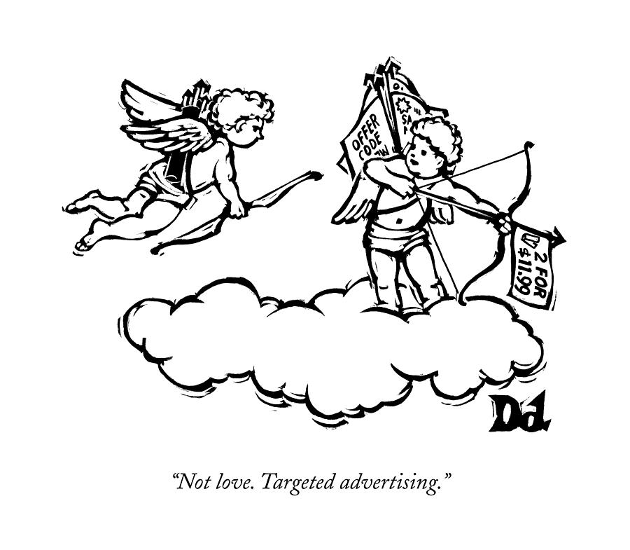 Cupids Twin Shoots Coupons From Up On A Cloud Drawing by Drew Dernavich