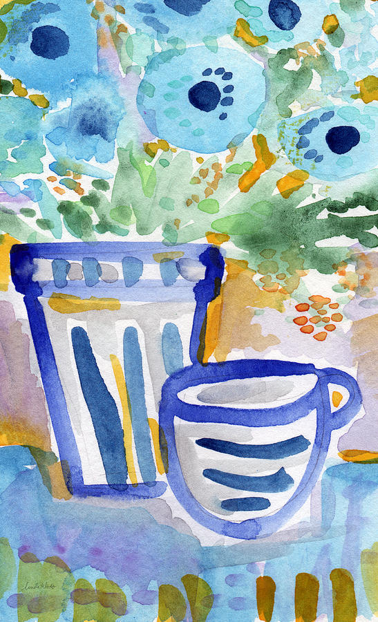 Blue And White Painting - Cups and Flowers-  watercolor floral painting by Linda Woods