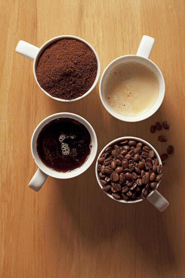 Cups Of Coffee And Coffee Beans Photograph by Larry Washburn
