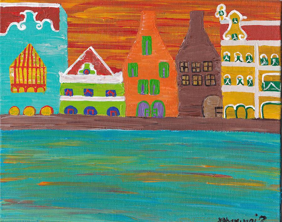Curacao Painting - Curacaos Handelskade Abstract by Melissa Vijay Bharwani