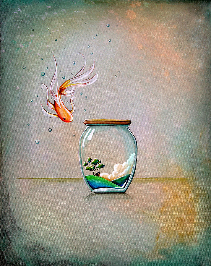 Fish Painting - Curiosity by Cindy Thornton