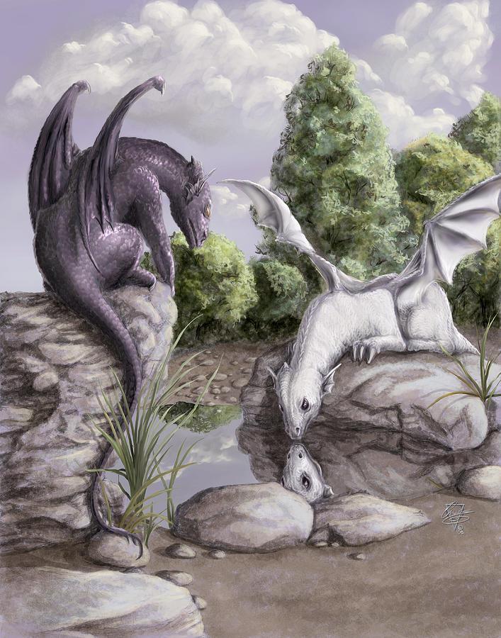 Dragon Painting - Curiosity by Rob Carlos