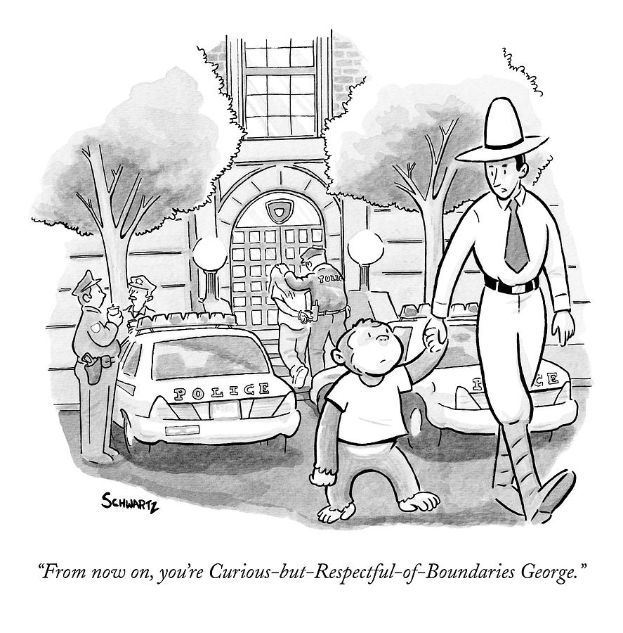 Curious George Is Escorted Out Of A Police Drawing By Benjamin