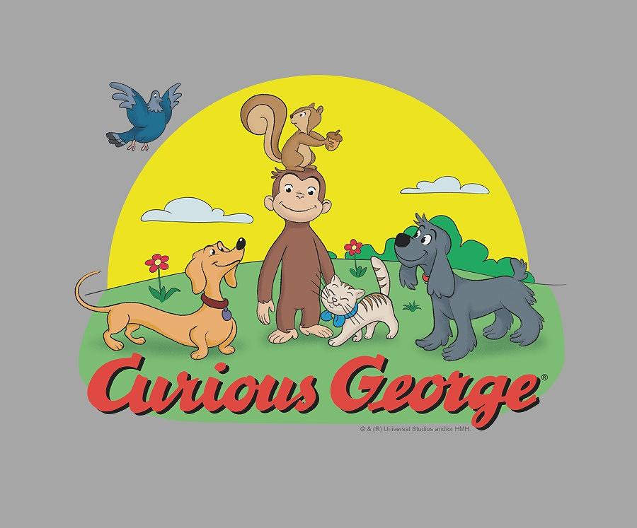 Curious George Digital Art - Curious George - Sunny Friends by Brand A