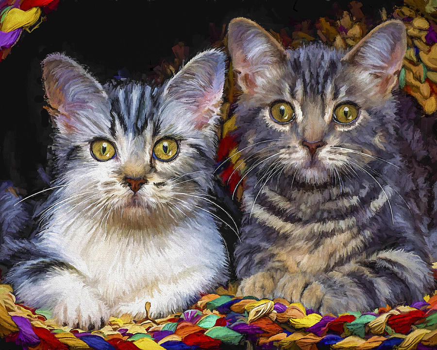 Cat Painting - Curious Kitties by David Wagner