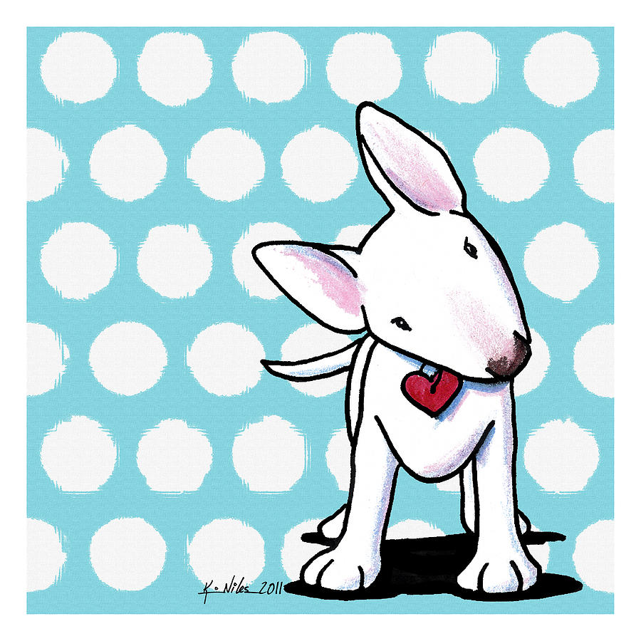 Bull Terrier Drawing - Curious Little Bully by Kim Niles