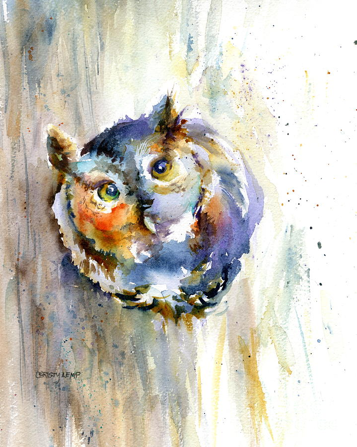 Owl Painting - Curious Screech Owl by Christy Lemp