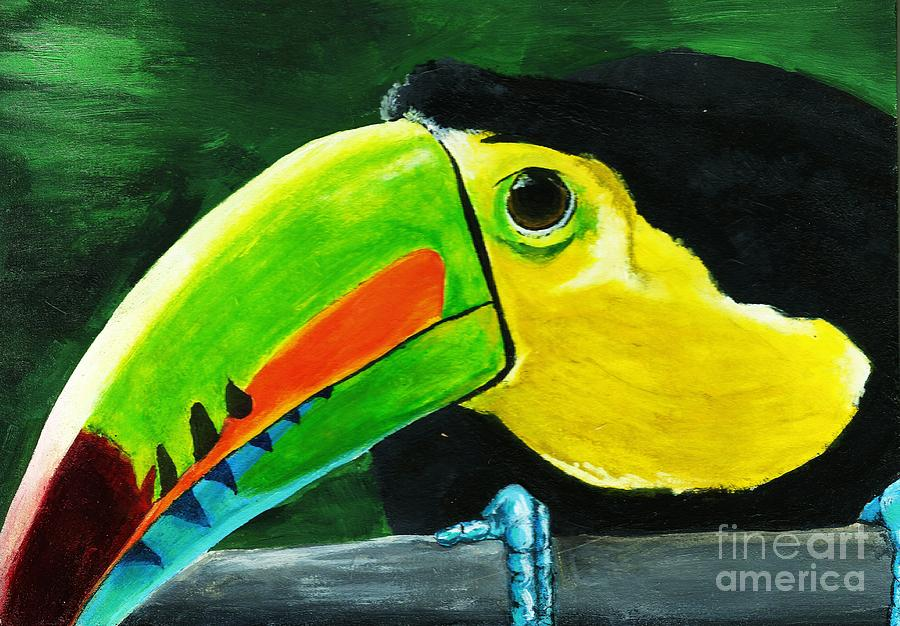 Parrot Painting - Curious Toucan by Laura Charlesworth