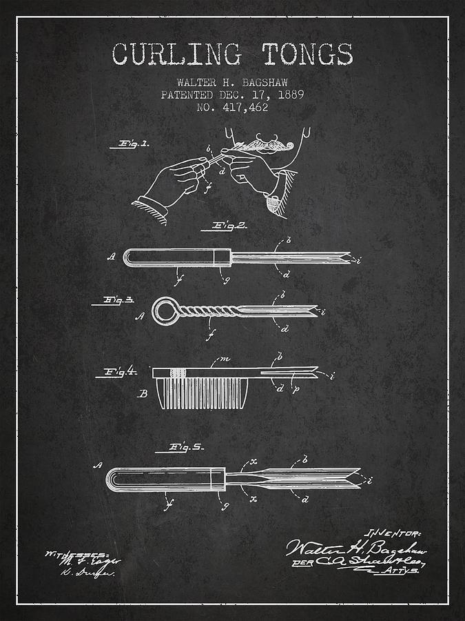 Curling Tongs Patent From 1889 - Dark Digital Art
