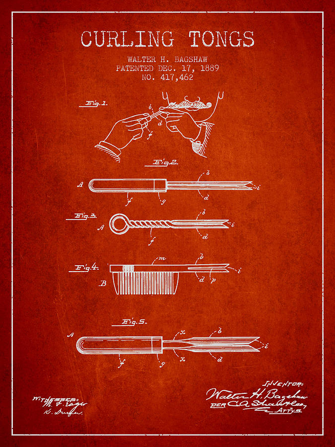 Curling Tongs Patent From 1889 - Red Digital Art