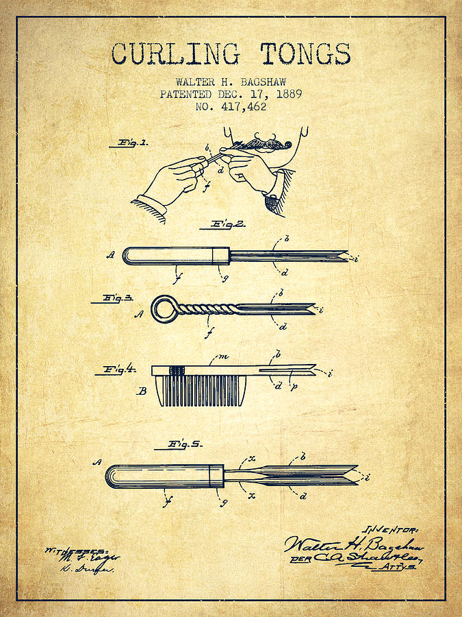 Curling Tongs Patent From 1889 - Vintage Digital Art