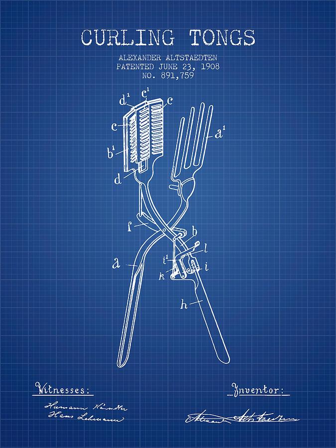 Curling Tongs Patent From 1908 - Blueprint Digital Art