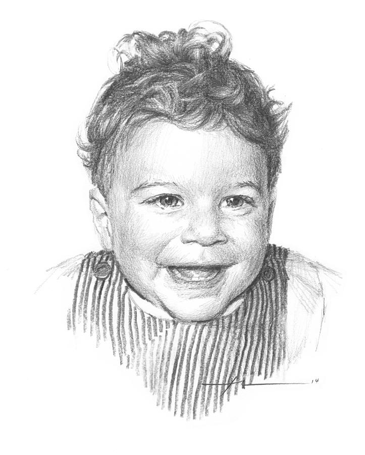 curly hair baby boy pencil portrait drawing by mike theuer